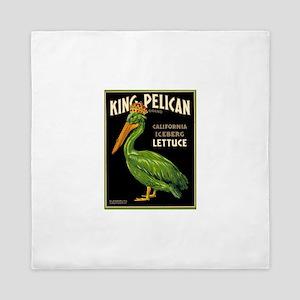 Antique King Pelican Lettuce Box Label Queen Duvet
