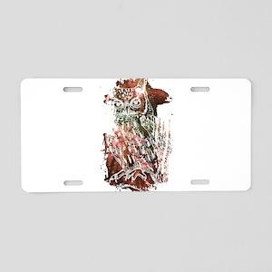 Cosmic Owl Aluminum License Plate