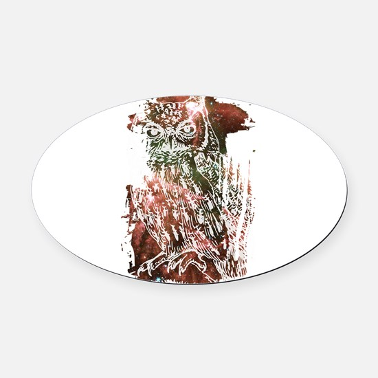 Cosmic Owl Oval Car Magnet