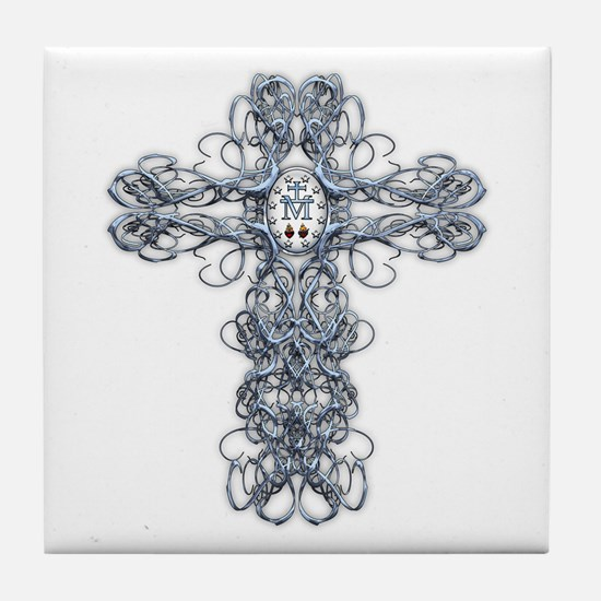 Wire Cross with Miraculous Medal Tile Coaster