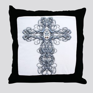 Wire Cross with Miraculous Medal Throw Pillow