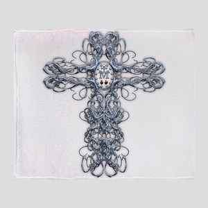 Wire Cross with Miraculous Medal Throw Blanket