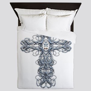 Wire Cross with Miraculous Medal Queen Duvet