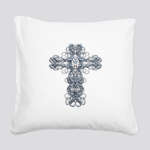 Wire Cross with Miraculous Medal Square Canvas Pil