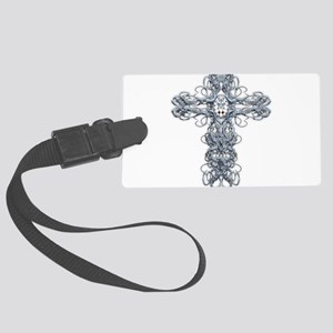 Wire Cross with Miraculous Medal Large Luggage Tag