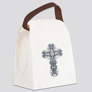 Wire Cross with Miraculous Medal Canvas Lunch Bag