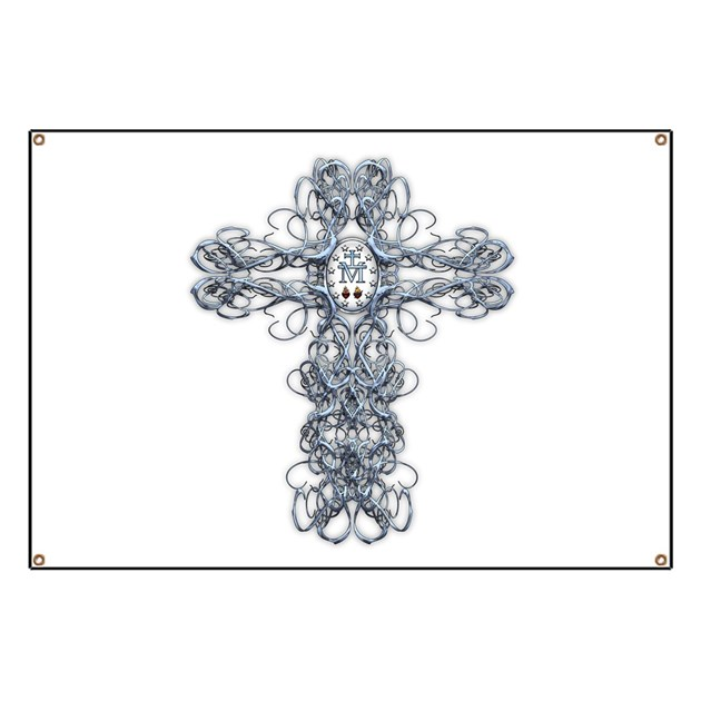 Wire Cross With Miraculous Medal Banner By Steelcrossgraphics