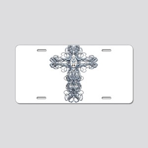Wire Cross with Miraculous Medal Aluminum License
