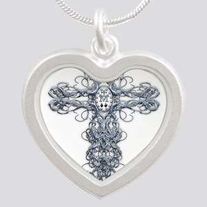 Wire Cross with Miraculous Medal Silver Heart Neck