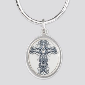 Wire Cross with Miraculous Medal Silver Oval Neckl