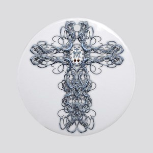 Wire Cross with Miraculous Medal Ornament (Round)