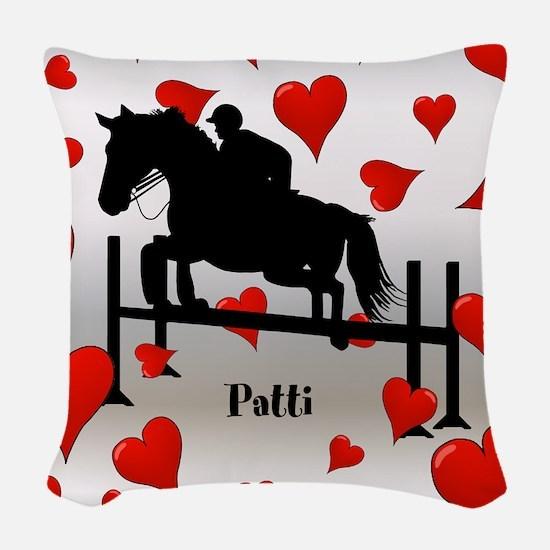 Fun Horse Jumper and Hearts Woven Throw Pillow