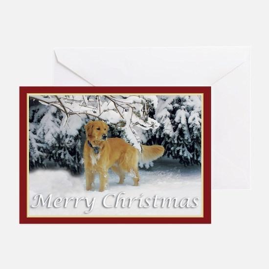 Golden Retriever Merry Christmas Greeting Cards (P