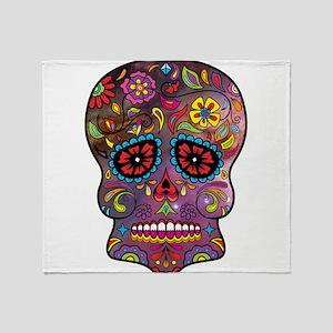 Festival Skull Throw Blanket