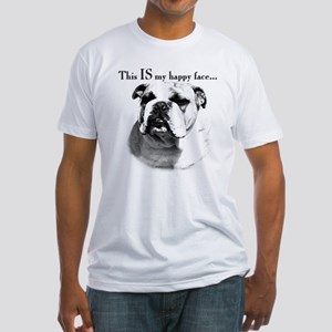Bulldog Happy Face Fitted T-Shirt