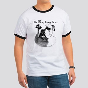 Bulldog Happy Face Ringer T