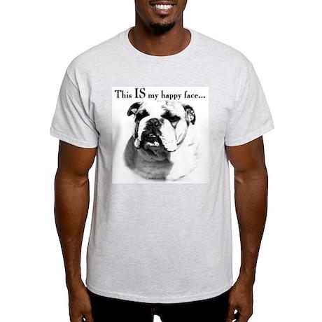 Bulldog Happy Face Ash Grey T-Shirt