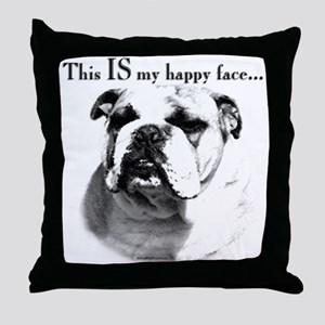 Bulldog Happy Face Throw Pillow