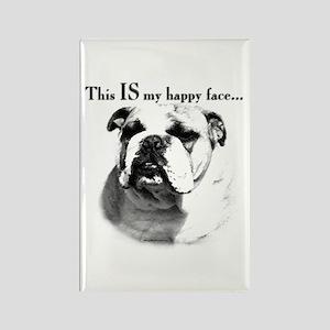 Bulldog Happy Face Rectangle Magnet