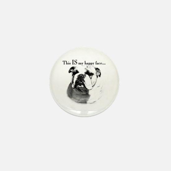 Bulldog Happy Face Mini Button