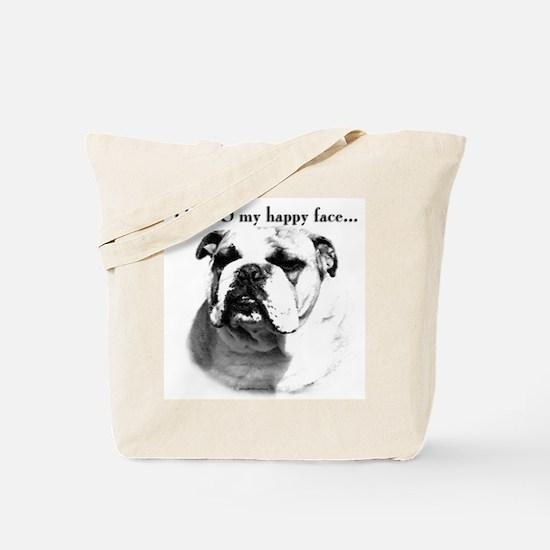 Bulldog Happy Face Tote Bag