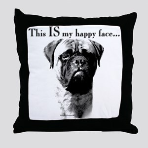 Bullmastiff Happy Face Throw Pillow