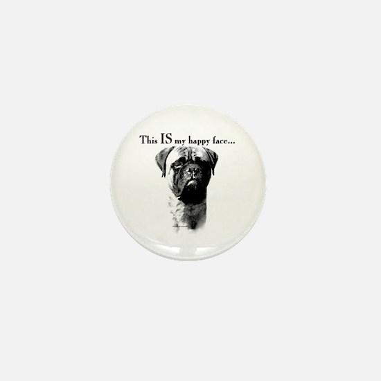 Bullmastiff Happy Face Mini Button