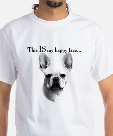 Frenchie Happy Face White T-Shirt