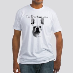 Frenchie Happy Face Fitted T-Shirt