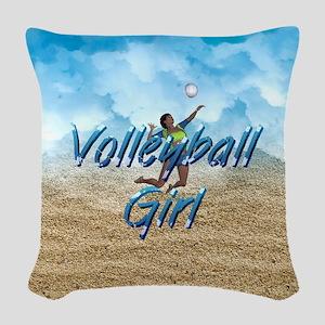 Top Beach Volleyball Girl Woven Throw Pillow