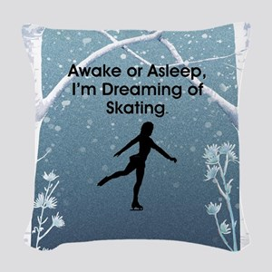 Dreaming of Skating Woven Throw Pillow