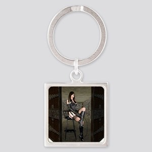 Dungeon Door Dominatrix Square Keychain