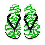 Mustaches Green n White Flip Flops
