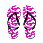 Mustaches Pink and White Flip Flops