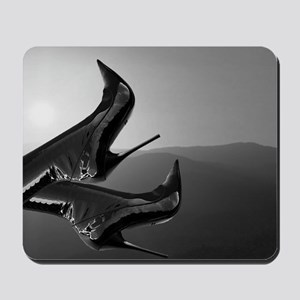 Sunset Boots (black and white) Mousepad