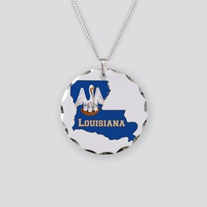 Louisiana Flag Necklace Circle Charm