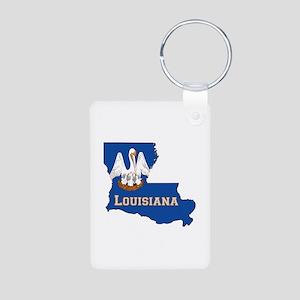 Louisiana Flag Aluminum Photo Keychain