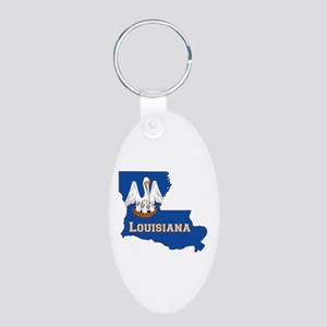 Louisiana Flag Aluminum Oval Keychain