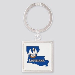 Louisiana Flag Square Keychain