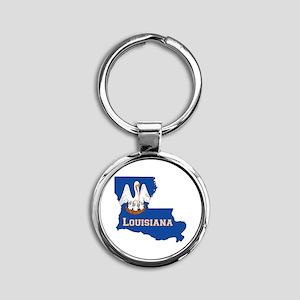 Louisiana Flag Round Keychain
