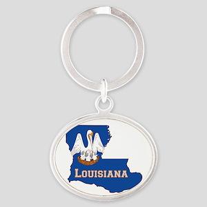 Louisiana Flag Oval Keychain