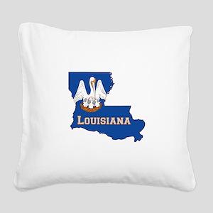 Louisiana Flag Square Canvas Pillow