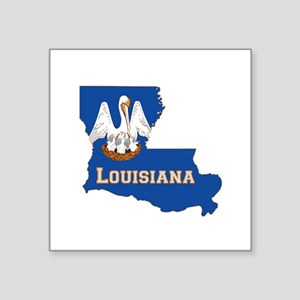 "Louisiana Flag Square Sticker 3"" x 3"""