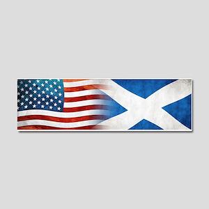 Scottish American Flags Car Magnet 10 x 3
