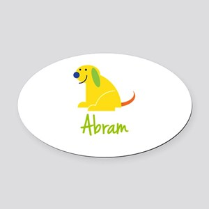 Abram Loves Puppies Oval Car Magnet