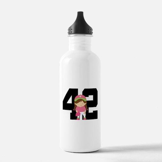 Softball Player Uniform Number 42 Water Bottle