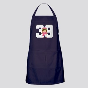 Softball Player Uniform Number 39 Apron (dark)