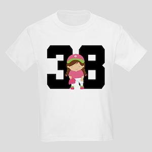 Softball Player Uniform Number 38 Kids Light T-Shi