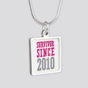 Survivor Since 2010 Silver Square Necklace