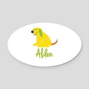 Alden Loves Puppies Oval Car Magnet